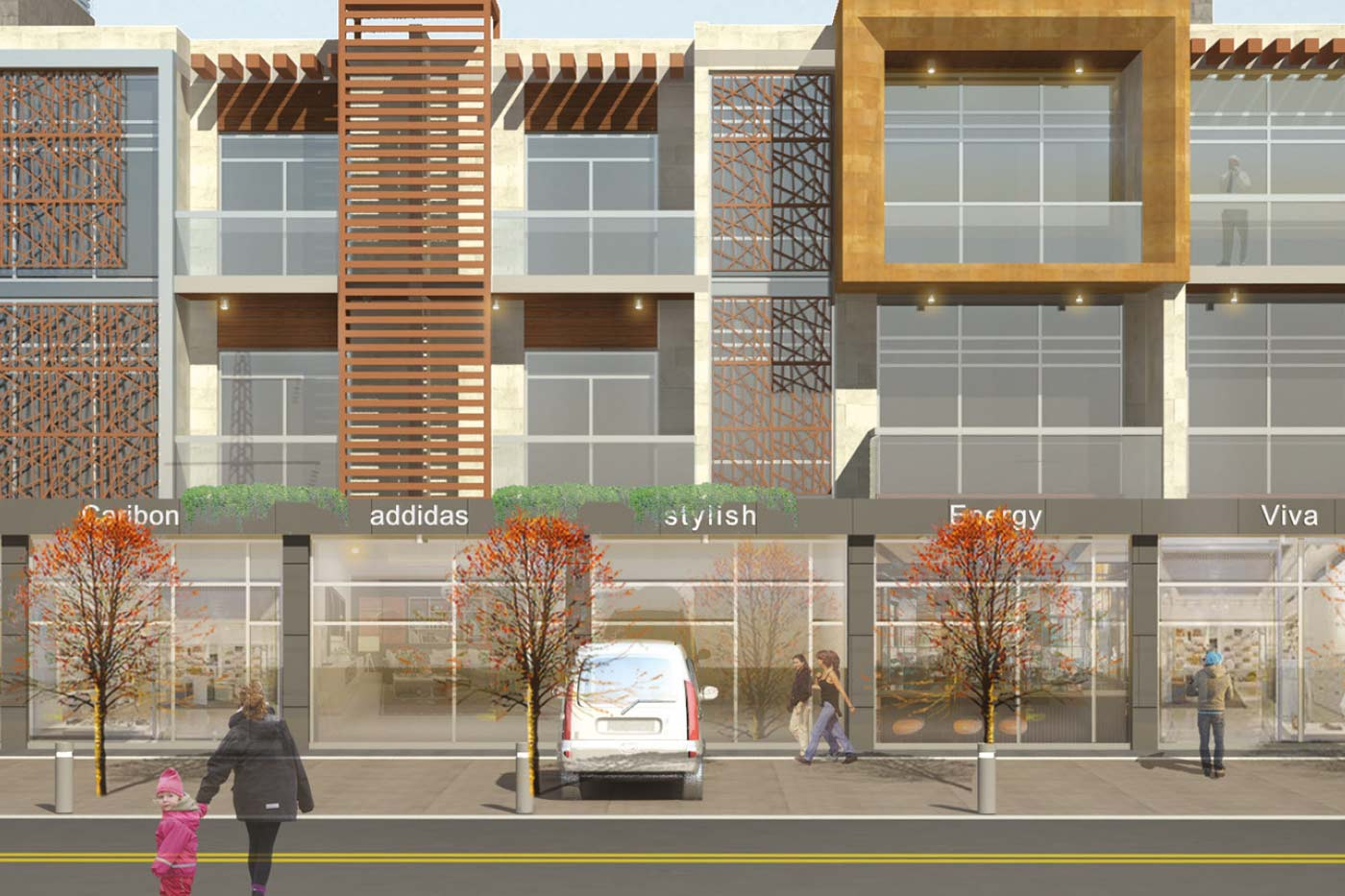 Gaith Center - Mixed-Use Building - Front View & StreetWalk